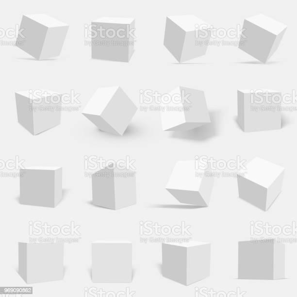 3dwitte Kubus Instellen Stockvectorkunst en meer beelden van Aansteken