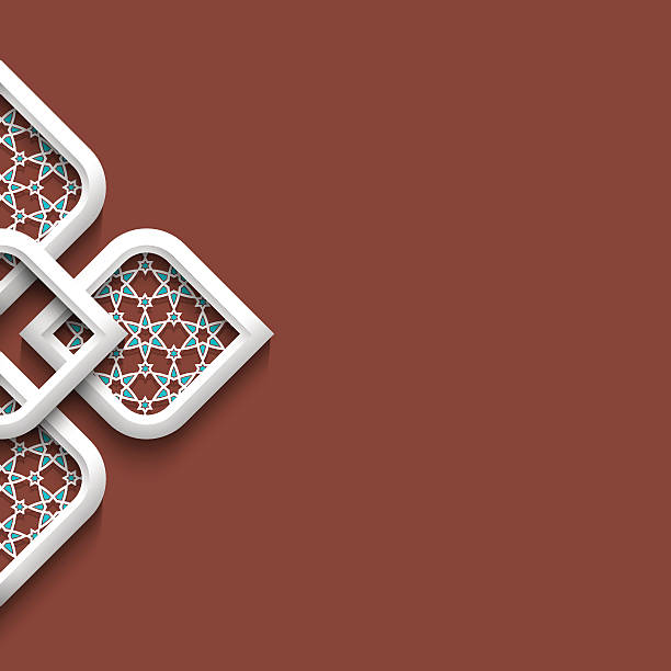 ilustrações de stock, clip art, desenhos animados e ícones de emblema de branco 3d em estilo árabe com espaço para texto - cora��o