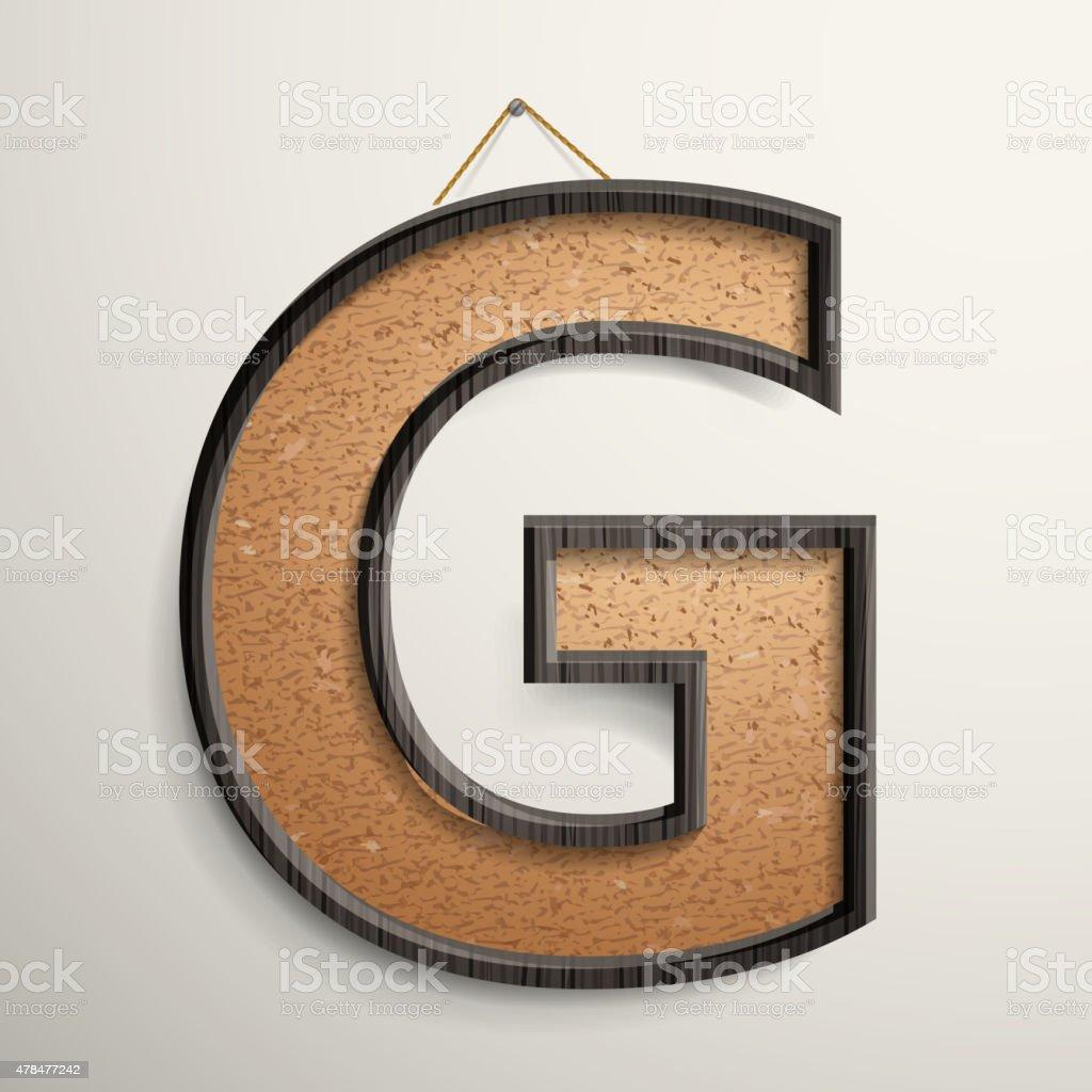 3 D Drewnianej Ramie Korka Tablicy Litera G Stockowe Grafiki