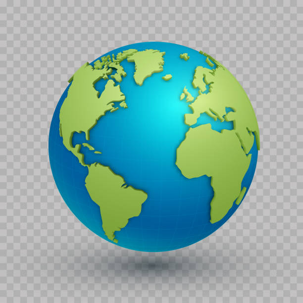illustrazioni stock, clip art, cartoni animati e icone di tendenza di 3d world map globe - terra