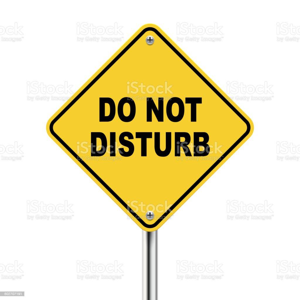 3d yellow roadsign of do not disturb vector art illustration