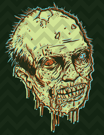 3d zombie head ooooozing with excitement