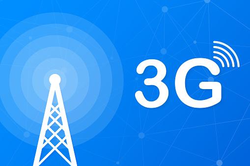 3g network technology. Wireless mobile telecommunication service concept. Marketing website landing template. Vector illustration.
