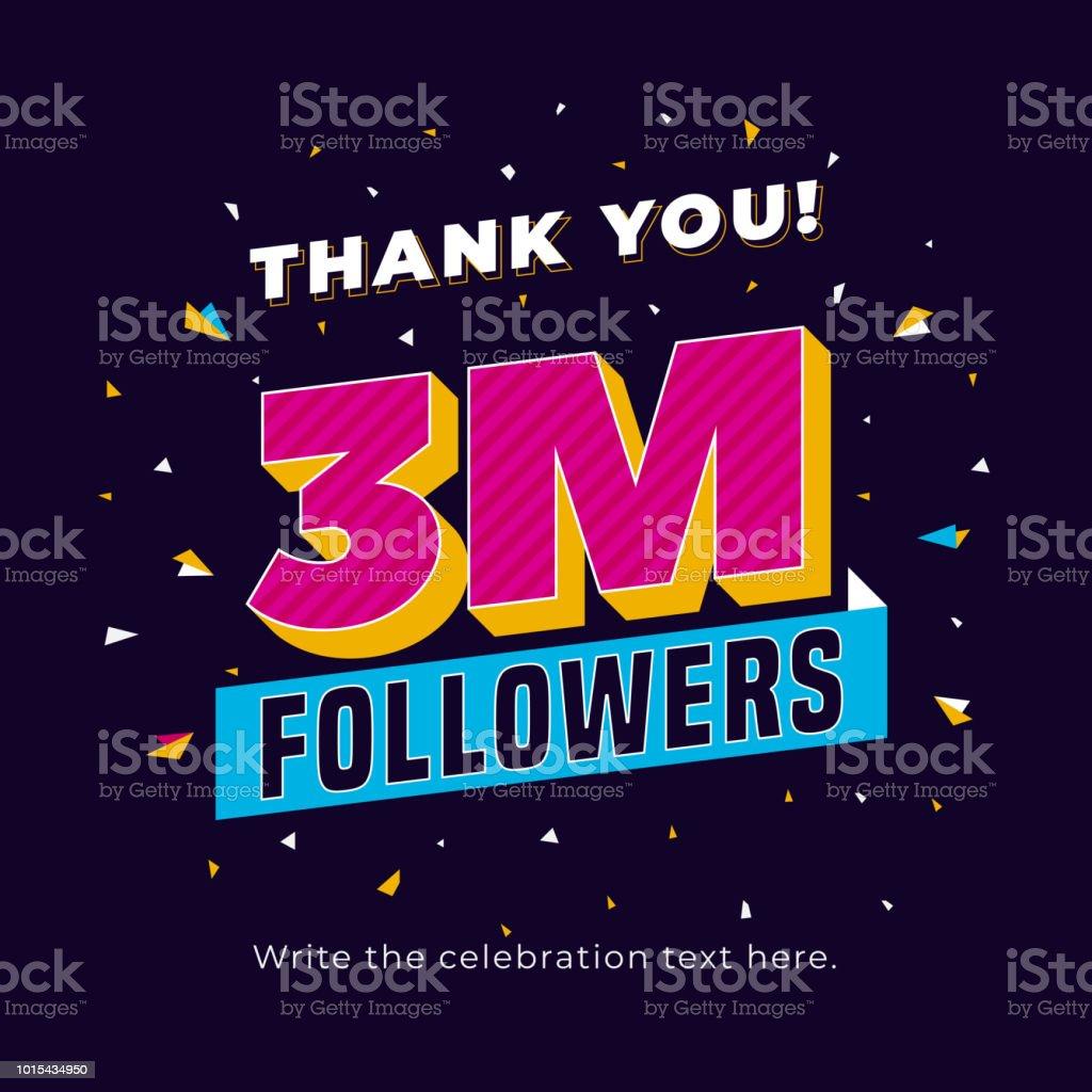3m Followers Three Million Followers Social Media Post Background ...