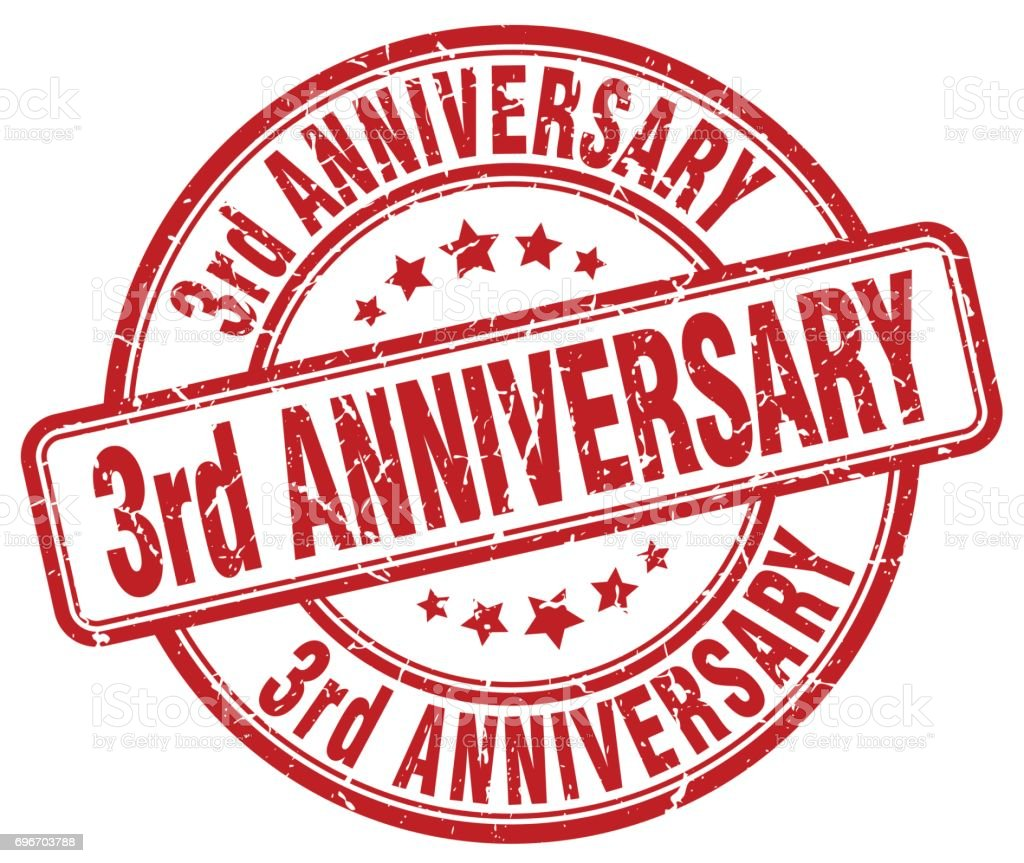 3rd anniversary red grunge stamp vector art illustration