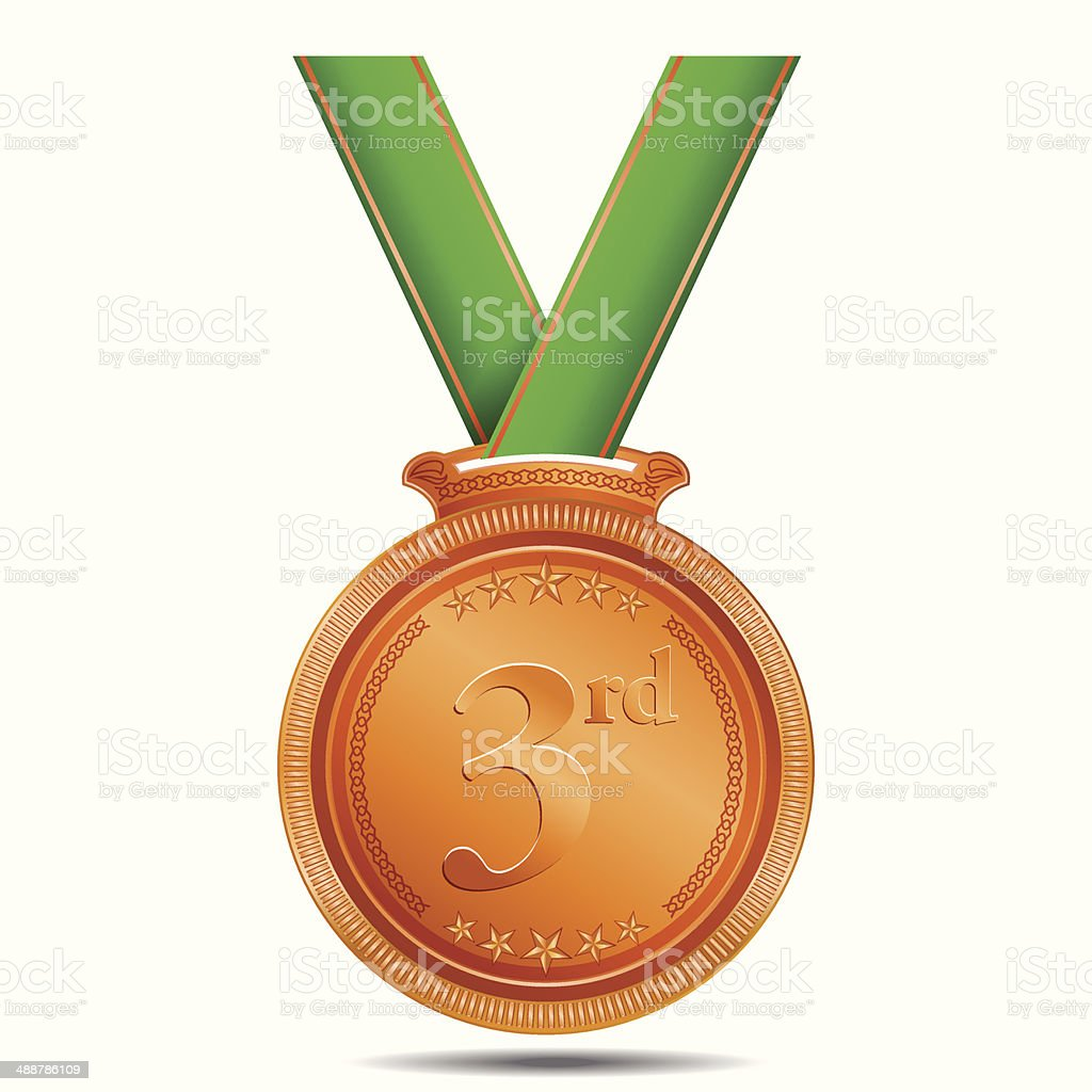 3rd Position Bronze Medal royalty-free 3rd position bronze medal stock vector art & more images of achievement