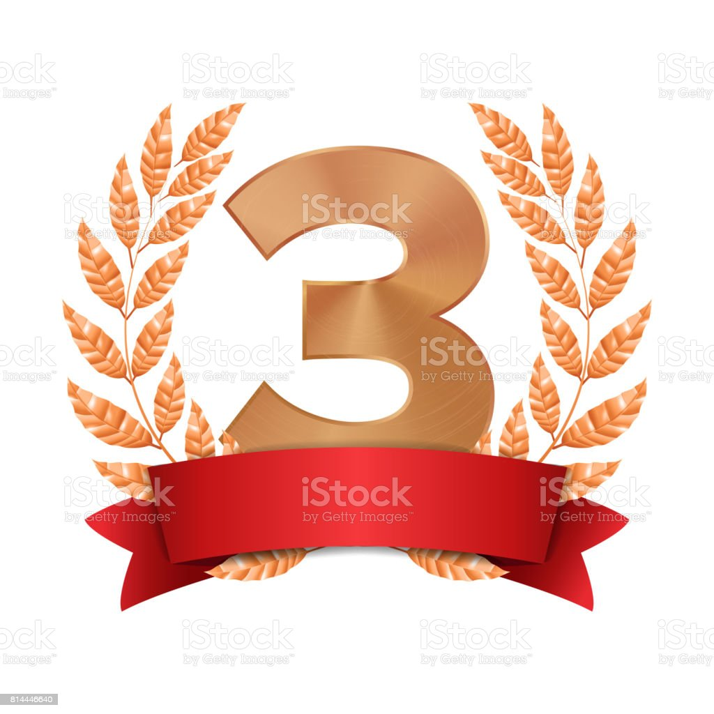 3rd Trophy Award Vector. Third Bronze Placement Achievement. Figure 3 Three In A Realistic Bronze Laurel Wreath. Red Ribbon. Isolated Illustration vector art illustration