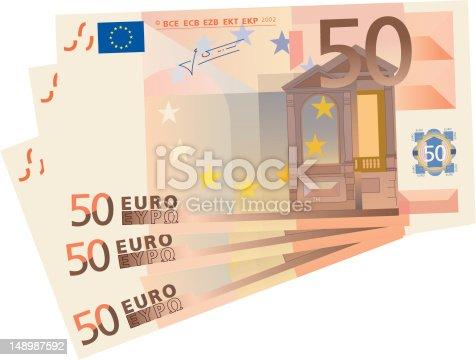 istock 3x 50 Euro bills (isolated) 148987592