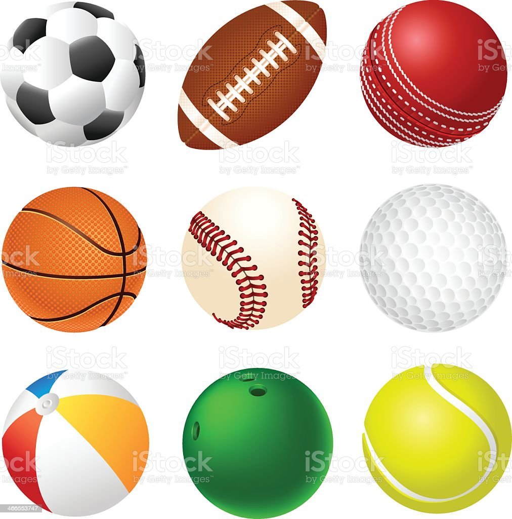 A 3x3 set of different sports balls on a white background vector art illustration