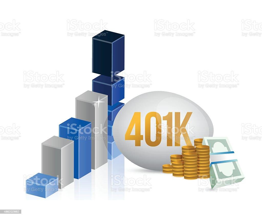 401k egg and cash money graph illustration vector art illustration