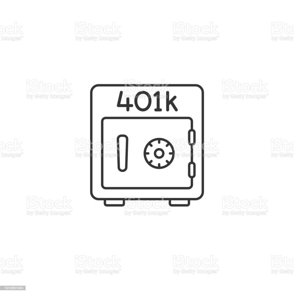 401k plan safe thin line vector icon vector art illustration