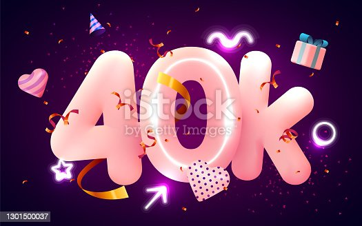 istock 40k or 40000 followers thank you Pink heart, golden confetti and neon signs. Social Network friends, followers, Web user Thank you celebrate of subscribers or followers and likes. 1301500037