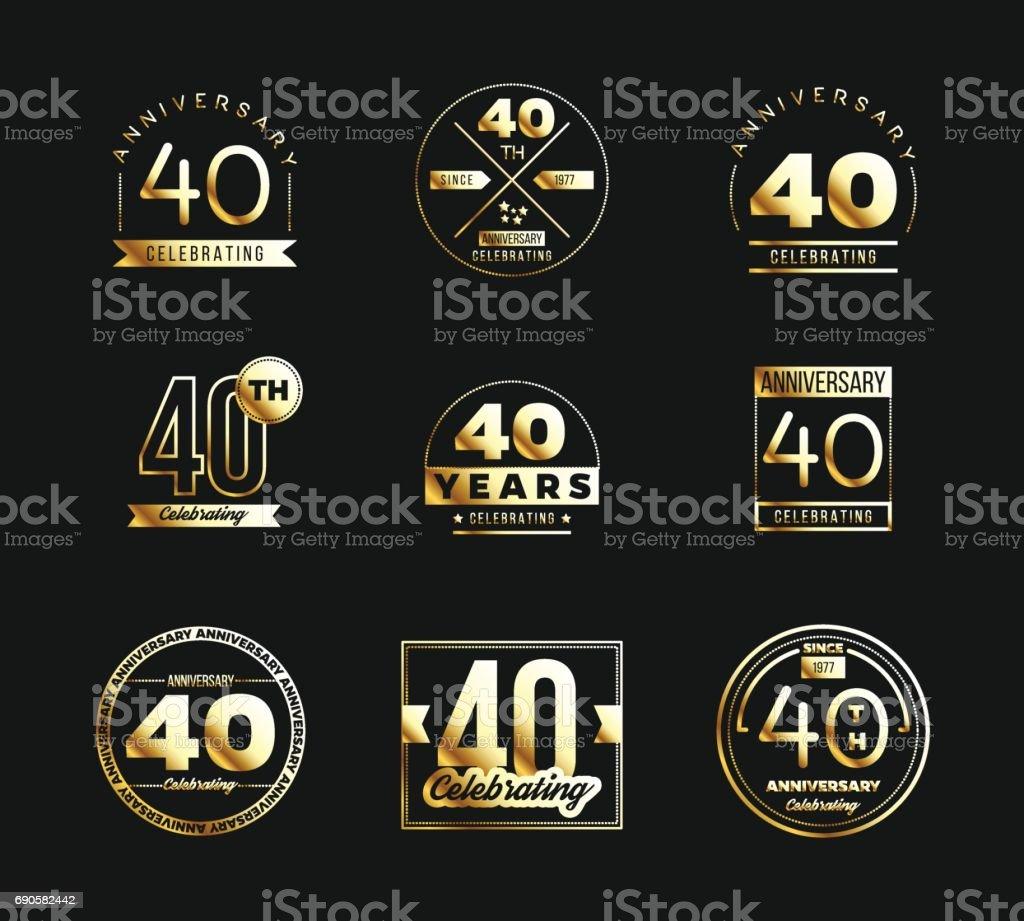 40th Anniversary Gold Symbol Type Set Jubilee Banner Stock Vector