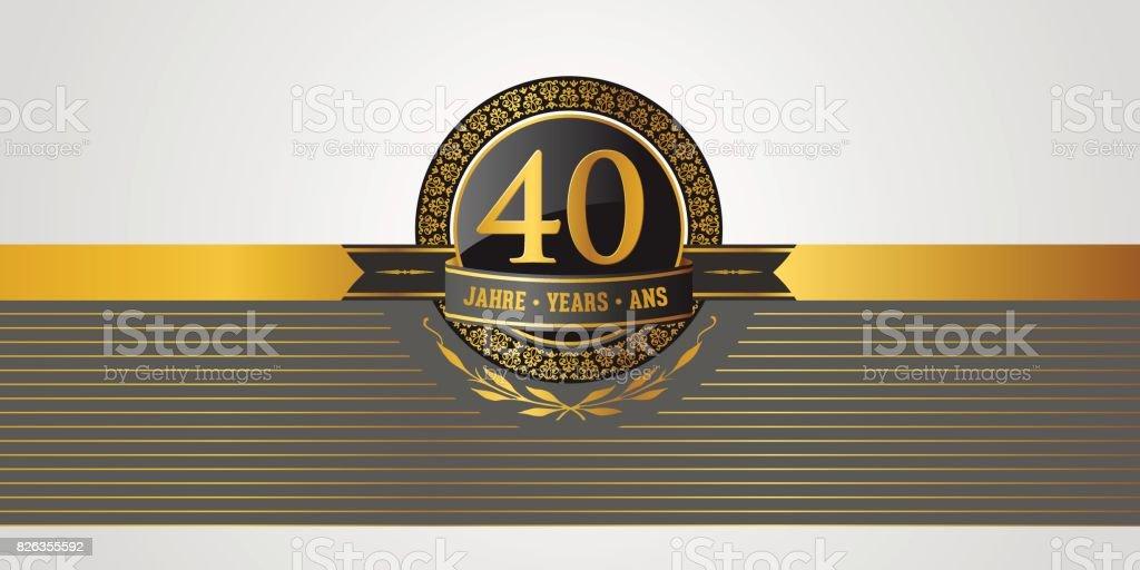 40th Birthday Jubilee Anniversary Pictogramm Stock Vector Art More
