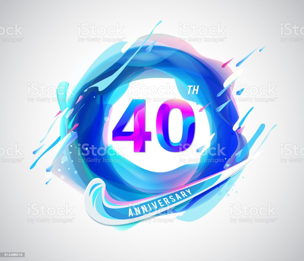 40th Colorful Anniversary Symbol Abstract Liquid Color Elements