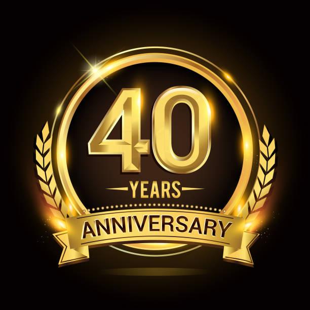 Happy Birthday 40th Background Illustrations, Royalty-Free