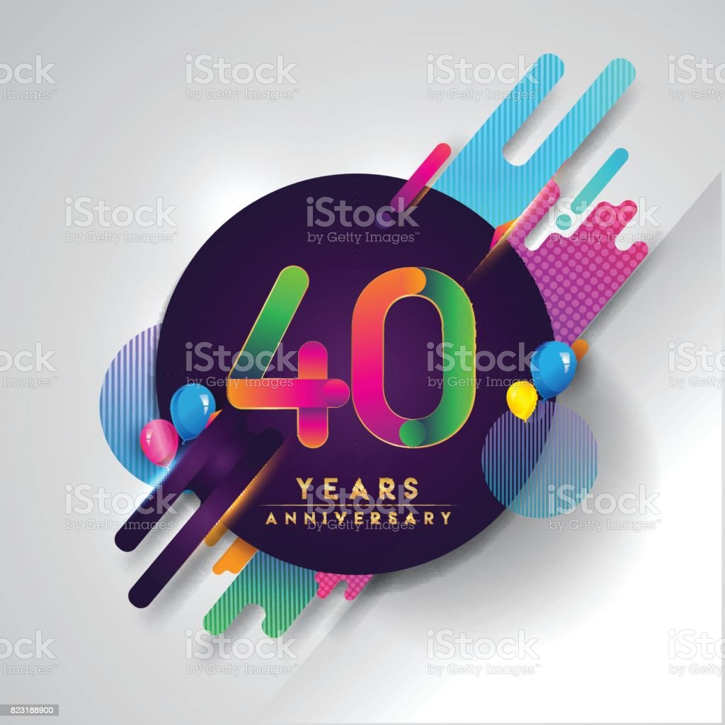 40th years anniversary symbol with colorful abstract background