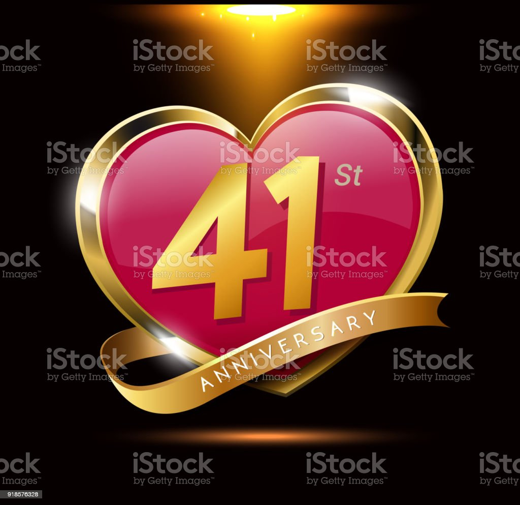 41st love anniversary with shiny gold on black background heart 41st love anniversary with shiny gold on black background heart shape with ribbon royalty biocorpaavc Gallery