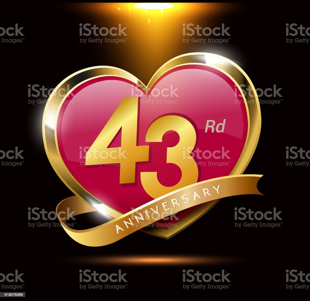 43rd Love Anniversary With Shiny Gold On Black Background Heart