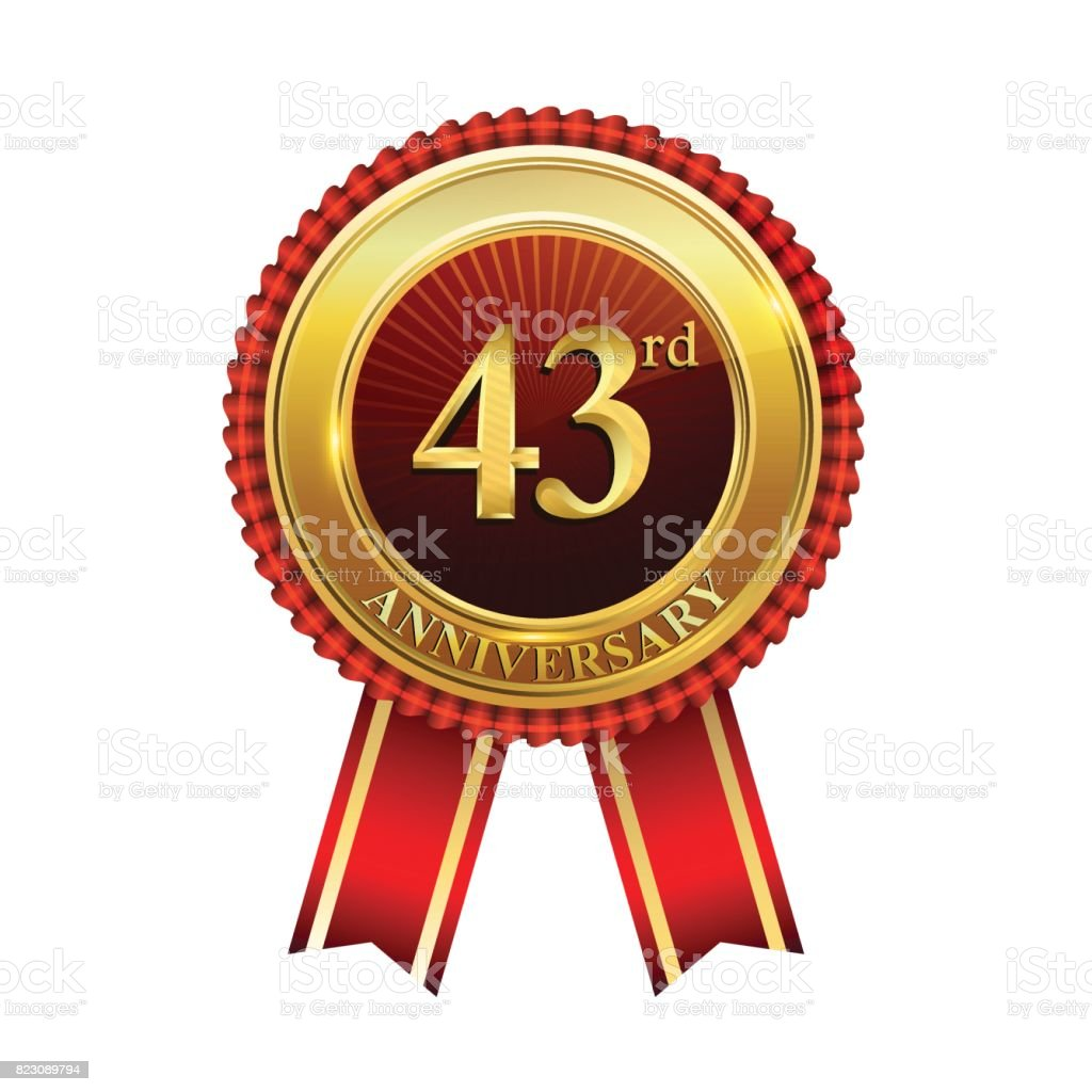 43rd Years Anniversary Golden Badge With Red Ribbons Isolated On