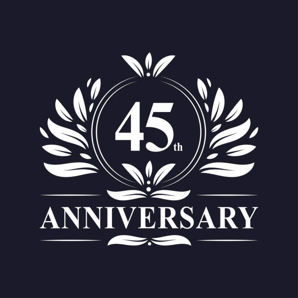 45th anniversary logo 45 years celebration 44th Anniversary celebration, luxurious 45 years Anniversary logo design. greeting card with the 45th anniversary stock illustrations