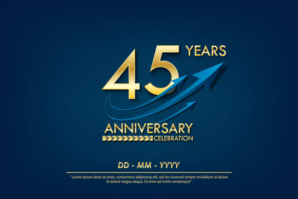 45th years anniversary celebration emblem. anniversary elegance golden logo with blue arrow ribbons on blue background. vector illustration template design for celebration greeting and invitation card 45th years anniversary celebration emblem. anniversary elegance golden logo with blue arrow ribbons on blue background. vector illustration template design for celebration greeting and invitation card greeting card with the 45th anniversary stock illustrations