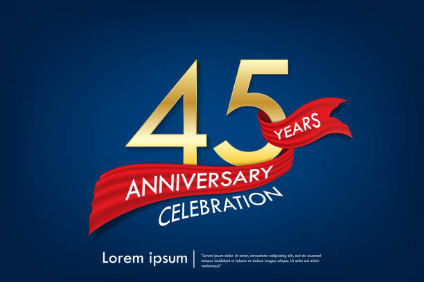 45th years anniversary celebration emblem. anniversary elegance golden logo with red ribbon on dark blue background, vector illustration template design for celebration greeting and invitation card 45th years anniversary celebration emblem. anniversary elegance golden logo with red ribbon on dark blue background, vector illustration template design for celebration greeting and invitation card greeting card with the 45th anniversary stock illustrations