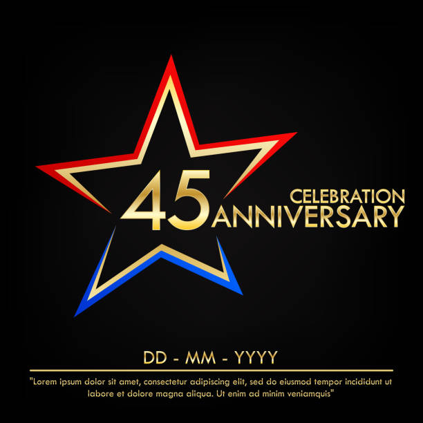 45th years anniversary celebration emblem. anniversary elegance golden logo with red and blue star shape. vector illustration template design for web, leaflet, flyer, greeting card and invitation card 45th years anniversary celebration emblem. anniversary elegance golden logo with red and blue star shape. vector illustration template design for web, leaflet, flyer, greeting card and invitation card greeting card with the 45th anniversary stock illustrations