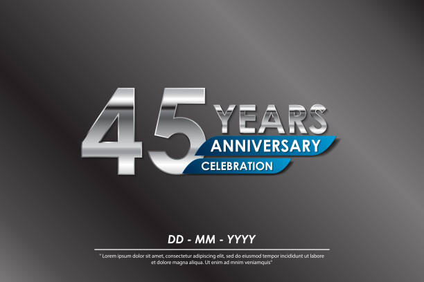 45th years anniversary celebration emblem. anniversary elegance silver logo isolated with blue ribbon, vector illustration template design for celebration greeting card and invitation card 45th years anniversary celebration emblem. anniversary elegance silver logo isolated with blue ribbon, vector illustration template design for celebration greeting card and invitation card greeting card with the 45th anniversary stock illustrations