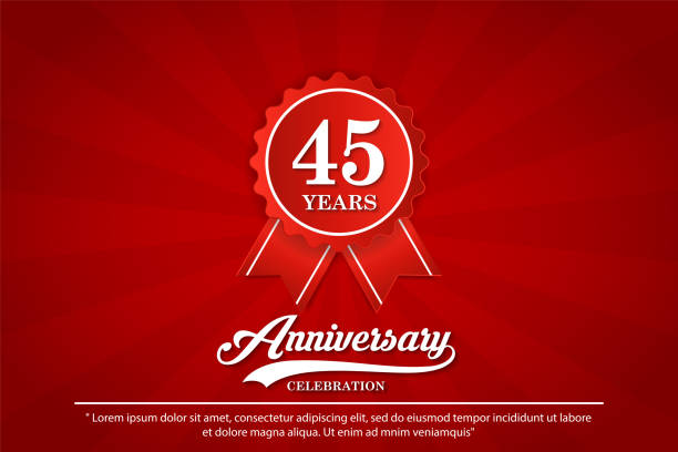 45th years anniversary celebration emblem. anniversary logo isolated with elegance of red ribbon. vector illustration template design for web, badges, celebration greeting card and invitation card 45th years anniversary celebration emblem. anniversary logo isolated with elegance of red ribbon. vector illustration template design for web, badges, celebration greeting card and invitation card greeting card with the 45th anniversary stock illustrations