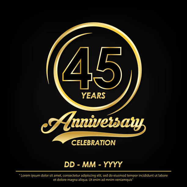 45th years anniversary celebration emblem. anniversary logo with elegance of golden ring on black background, vector illustration template design for celebration greeting card and invitation card 45th years anniversary celebration emblem. anniversary logo with elegance of golden ring on black background, vector illustration template design for celebration greeting card and invitation card greeting card with the 45th anniversary stock illustrations