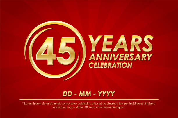 45th years anniversary celebration emblem. anniversary logo with ring and elegance of golden on red background, vector illustration template design for celebration greeting card and invitation card 45th years anniversary celebration emblem. anniversary logo with ring and elegance of golden on red background, vector illustration template design for celebration greeting card and invitation card greeting card with the 45th anniversary stock illustrations