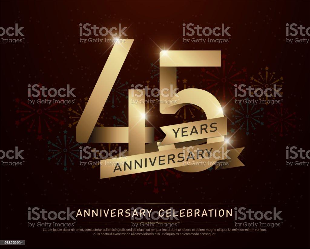 Ilustracion De 45 Anos Aniversario Celebracion Oro Numero Y Cintas