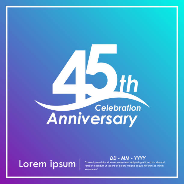 45th years anniversary celebration logotype with violet and blue background, vector illustration template design for web, booklet, leaflet, magazine, brochure, poster, web, invitation or greeting card 45th years anniversary celebration logotype with violet and blue background, vector illustration template design for web, booklet, leaflet, magazine, brochure, poster, web, invitation or greeting card greeting card with the 45th anniversary stock illustrations