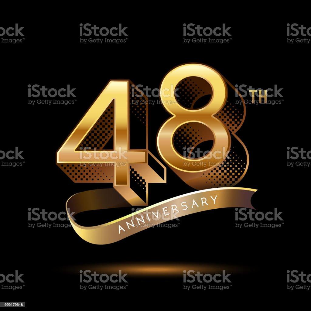 48e Verjaardag Viering Logo Gekleurd Met Glimmend Goud Met Behulp