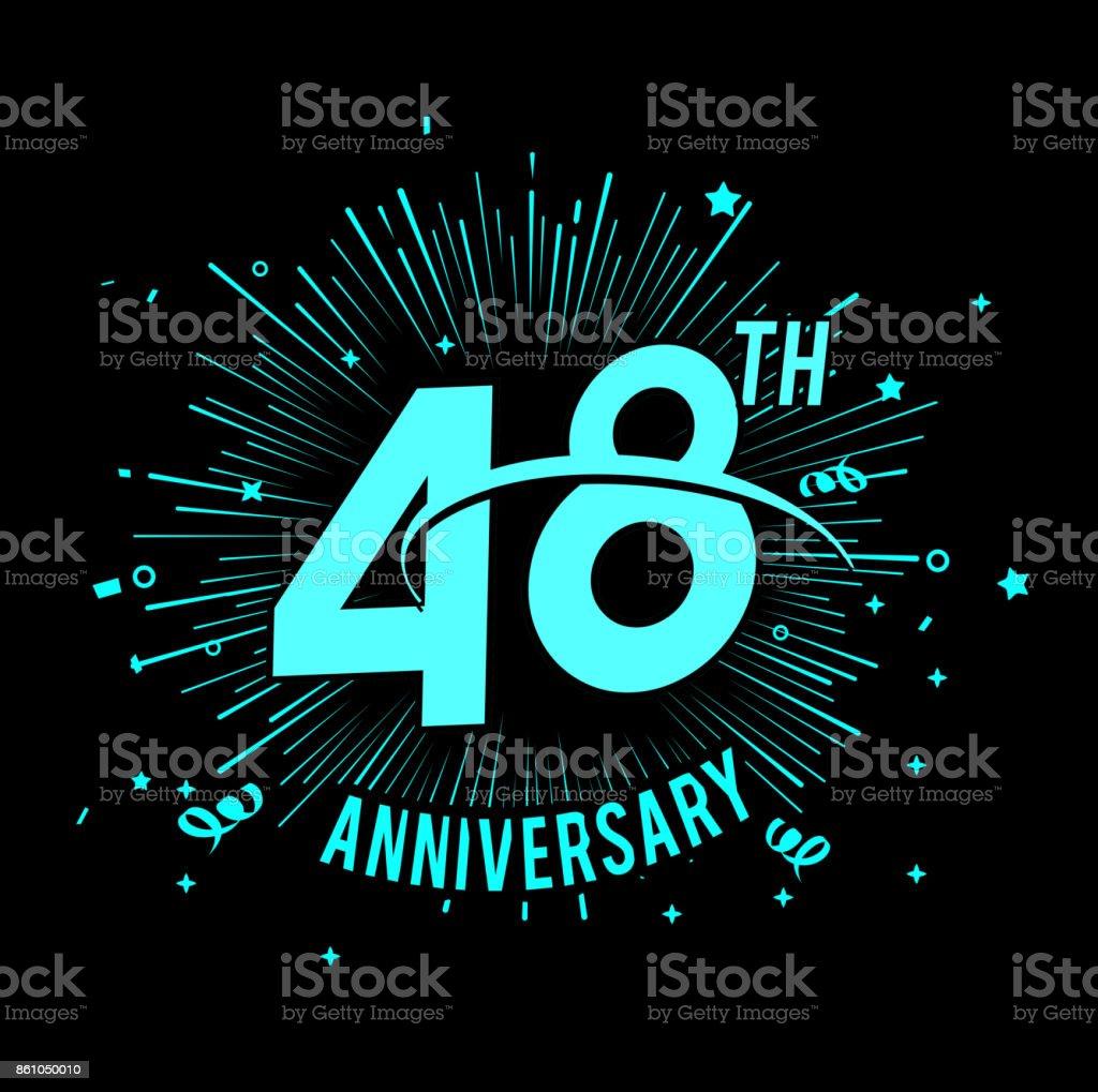 48e Verjaardag Met Vuurwerk Achtergrond Gloeien In Het Donker