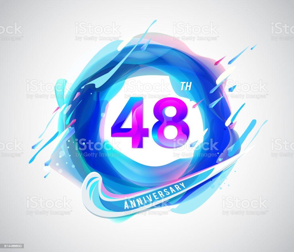 48e Kleurrijke Verjaardag Symbool Abstract Ontwerp Van De