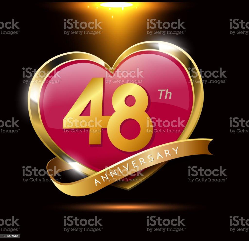48e Verjaardag Van De Liefde Met Glanzend Goud Op Zwarte Achtergrond