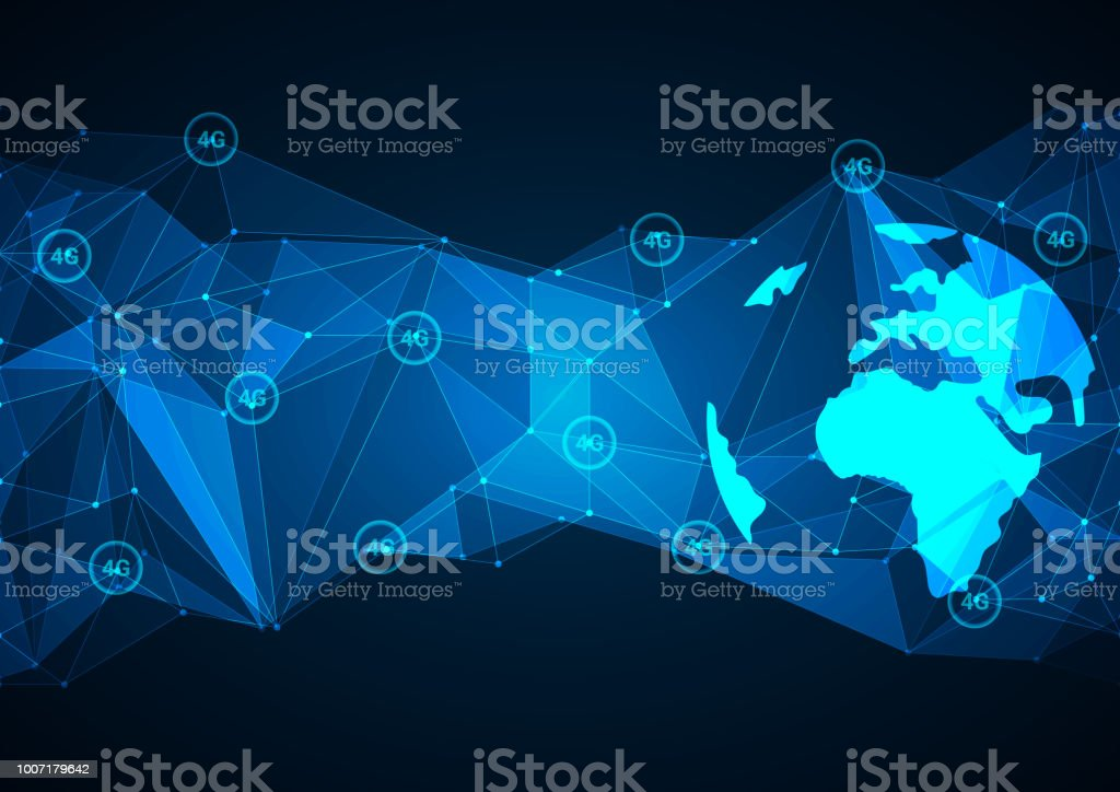 4g Internet connection speed. Abstract blue polygonal background with connecting dots and lines. Data and technology concept, network vector art illustration