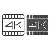 4k dimension movie frame line and solid icon. Ultra high video quality extension symbol, outline style pictogram on white background. Multimedia sign for mobile concept or web design. Vector graphics