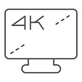 4k monitor screen thin line icon. Ultra high quality device display symbol, outline style pictogram on white background. Multimedia sign for mobile concept and web design. Vector graphics