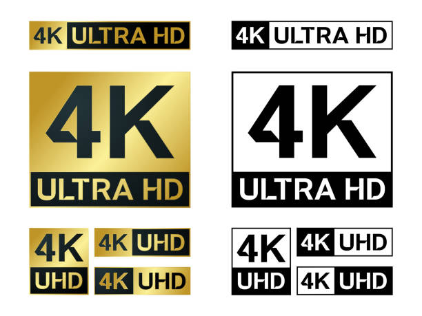 stockillustraties, clipart, cartoons en iconen met 4 k ultra hd pictogram. vector 4k uhd tv symbool van high definition - hdri landscape
