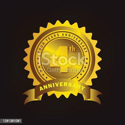 istock 4th anniversary celebration badge label in golden color 1281381081