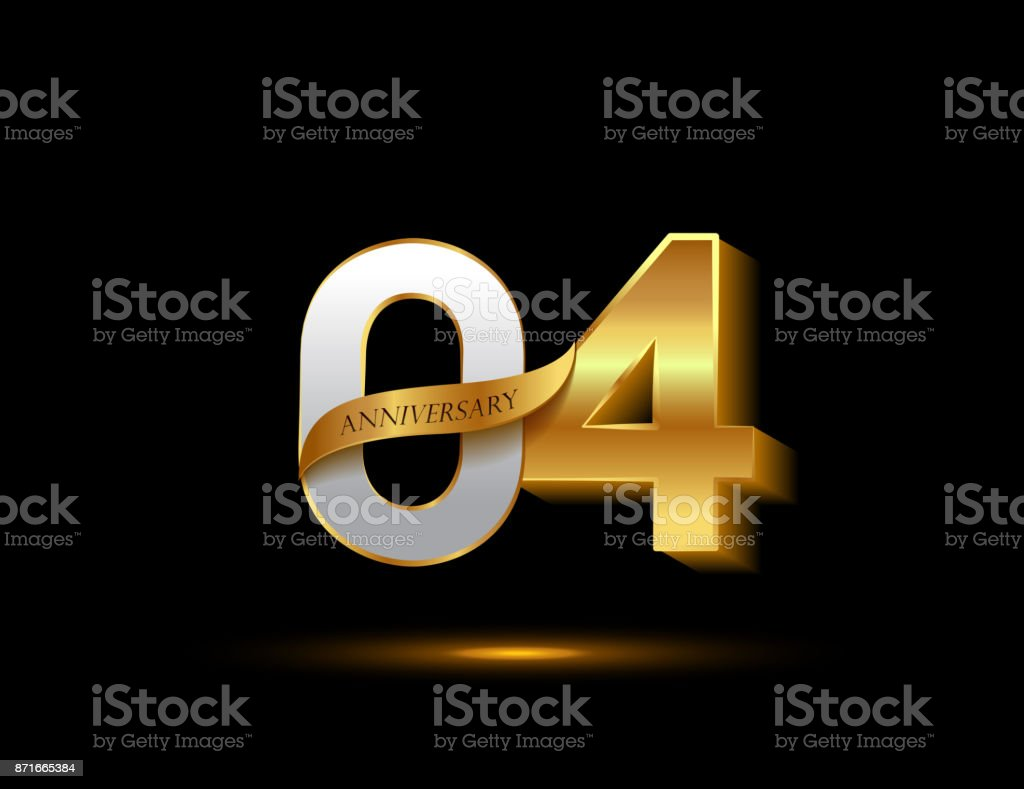 4th anniversary glowing logotype with ribbon golden colored isolated on dark background, vector design for greeting card and invitation card. vector art illustration