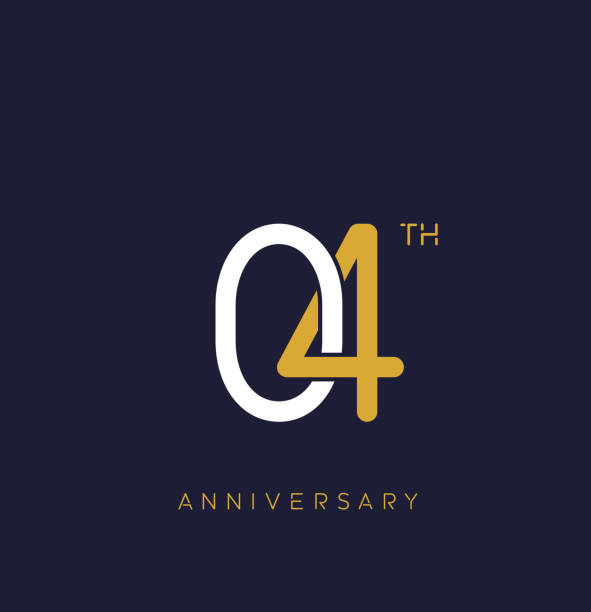4th anniversary logo.overlapping number with simple monogram color. vector design for greeting card and invitation card. vector art illustration