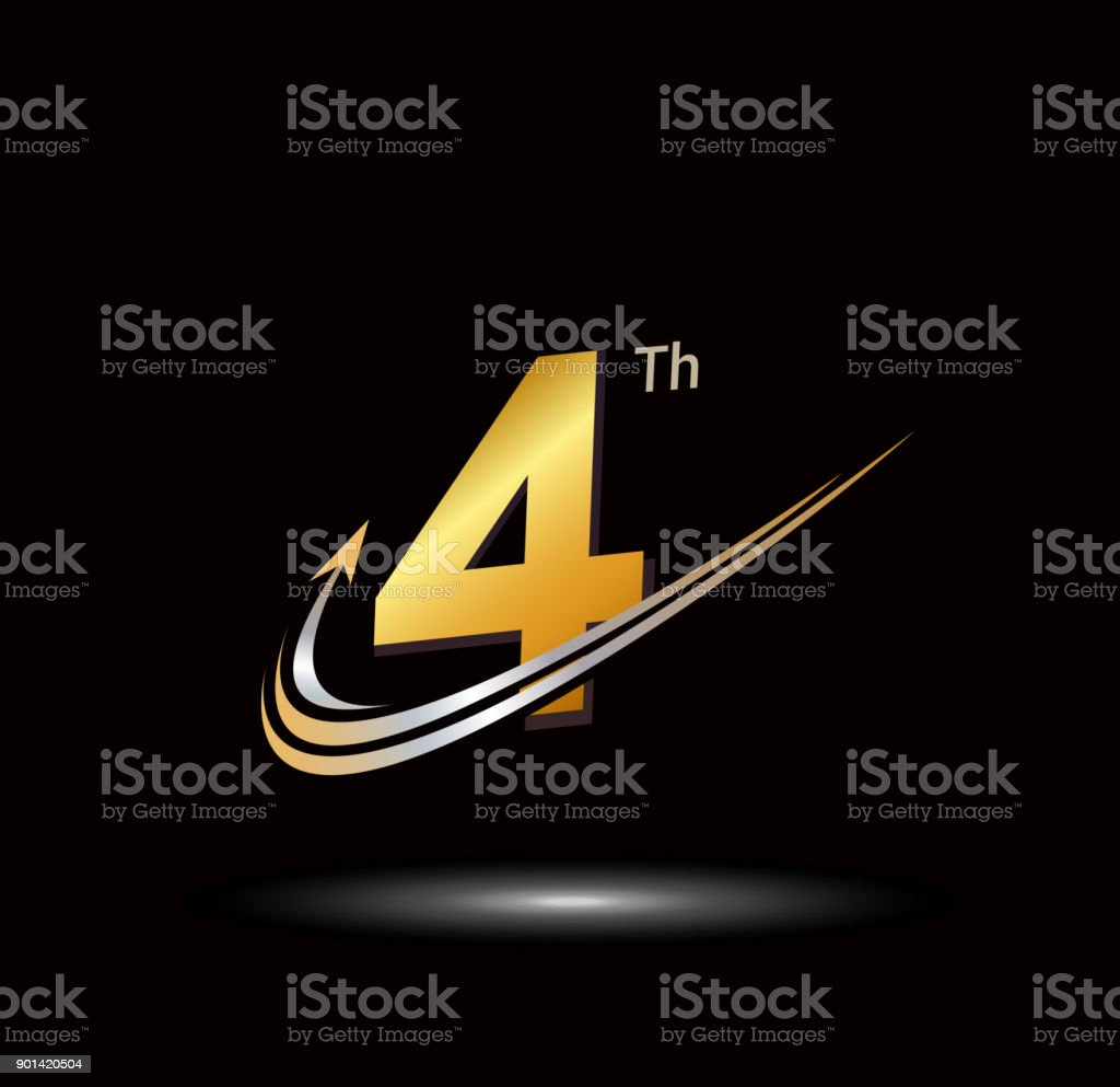 4th anniversary with swoosh and arrow icon. fast and forward golden anniversary logo on black background vector art illustration