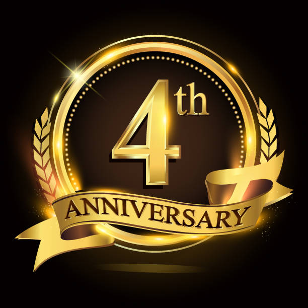 4th golden anniversary logo with ring and ribbon, laurel wreath vector design. vector art illustration