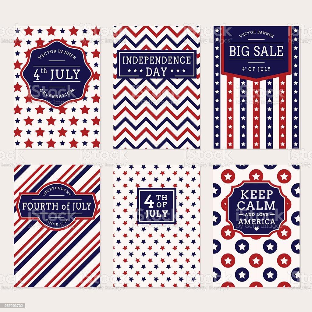 4th July banner set vector art illustration