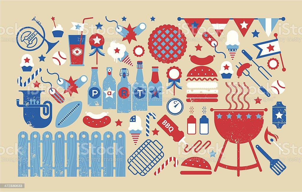 4th July celebration panoram composition vector art illustration