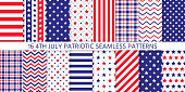 4th July seamless pattern. Patriotic prints. Vector.  Happy independence day textures with stars, stripes, zigzag and plaid. Set of USA flag geometric backgrounds. Simple modern illustration.